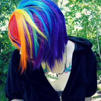Spring SALE - RAINBOW MAGIC wig // Red Purple Blue Yellow Pink Orange -- Scene Punk Hair