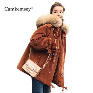 CamKemsey Large Fur Collar Winter Jacket Women Hooded Corduroy Coat For Women Warm Thick Cotton Padded Winter Parkas Women