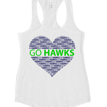 SEAHAWKS. T-shirts. GO HAWKS . Seahawks. Football. 12th Woman. Fan clothing. Womens Soft Terry Tank. 12th man gear.