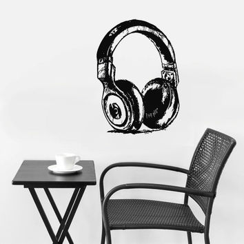 Wall Decal Vinyl Sticker Decals Headphones Music Notes Beats Audio Sketch Art Drawing (z2656)