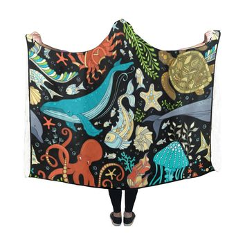 Hooded Blanket Sea Life Turtle Octopus Whale 60x48 Inch