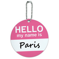 Paris Hello My Name Is Round ID Card Luggage Tag