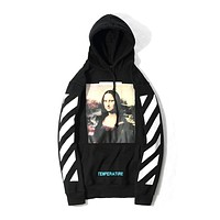 OFF-WHITE C/O VIRGIL ABLOH Mona Lisa OW Men and Women Hoodie Sweater Hooded F-A-KSFZ black