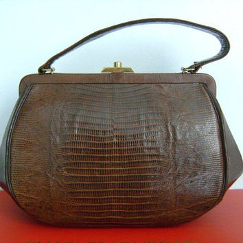 True Vintage From The 1960's Era By STERLING Classic Brown Exotic Reptile Genuine LIZARD Skin Ladies Accessory Handbag Purse