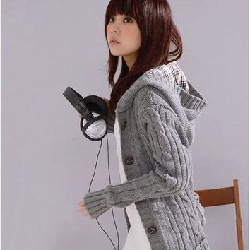 Womens Lovely Knit Long Cardigan Hoodie Sweater