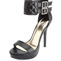 Quilted Ankle Cuff Platform Heels by Charlotte Russe - Black