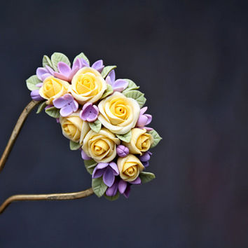 flower polymer clay hair stick, hair accessories ,handmade flowers