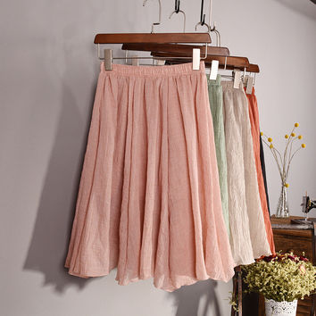 New Fashion 2016 Womens Vintage 11 Color Linen High-Waist Pleated Midi Skirts Elegant Ladies Slim Elastic Waist Skirt Saias SK06