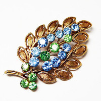 Vintage Rhinestone Leaf Brooch - Green and Blue Rhinestones - Textured Goldtone Leaves Pin- 1960's 1970's era Pin