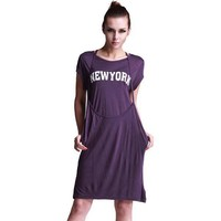 Bqueen Printed Long loose dress Purple SK024P - Designer Shoes|Bqueenshoes.com