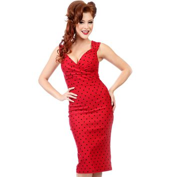 Steady Clothing Diva Polka Dot Wiggle Dress | Pin Up Rockabilly
