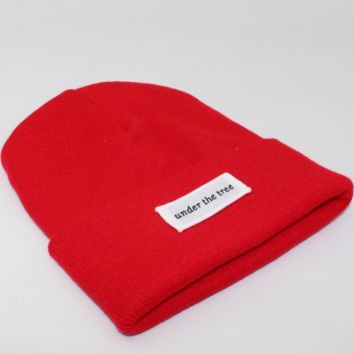 Under the tree patch lettering knit hat Red