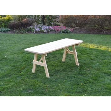 "A & L Furniture Co. Pressure Treated Pine 5' Traditional Table Only - Specify for FREE 2"" Umbrella Hole  - Ships FREE in 5-7 Business days"