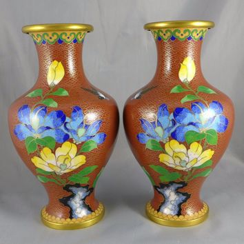 Vintage Chinese Cloisonne Vases, Pair of Brass Enamel Vases, Flowers And Birds, Terracotta Color, Lobed Shape Vases