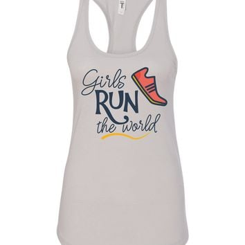 Girls Run the World  Silver Tanktop - Running, 5k 1/2 marathon, 10k, marathon, raceday, womens race, lady running group