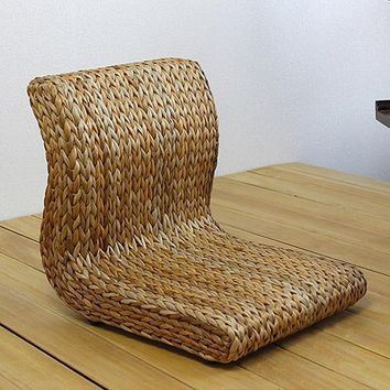 Handmade Japanese Floor Seat  Made From Banana Leaves Asian Traditional Tatami Zaisu Seat For Healthy Posture