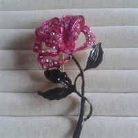 Closing sale - Pink and black rose crystal green brooch pin
