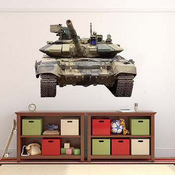 kcik1342 Full Color Wall decal military tank transport machinery machine children's room