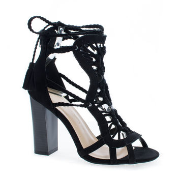 Luciana86 Black By Wild Diva, Braided Macramé Leg Wrap Stacked High Heel Sandals