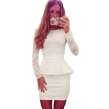 Sexy Women Lace Splice Pencil Dress Peplum Waist O Neck Long Sleeve Evening Party Mini Dress Bandage Bodycon Clubwear vestidos