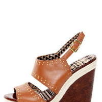 Jessica Simpson Geno Light Luggage Studded Wedge Sandals