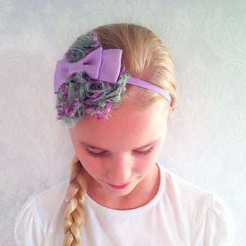 Lilac Baby, Child Headband, Stretchy Floral Headband, Fashion Hair Accessories, Shabby Chic, Infant Headband, Newborn, Baby Gift Ideas.