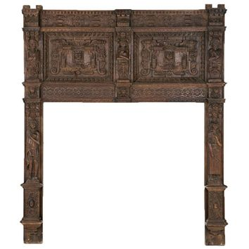 Huge 16th Century Oak Gothic Fire Surround