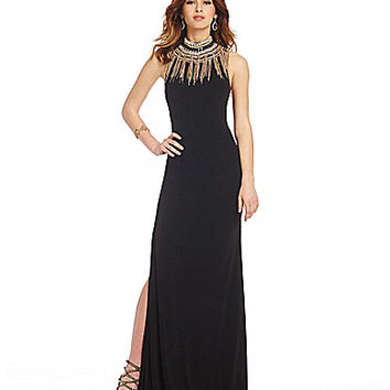 JVN by Jovani Metal Fringe Collar Gown | Dillards.com