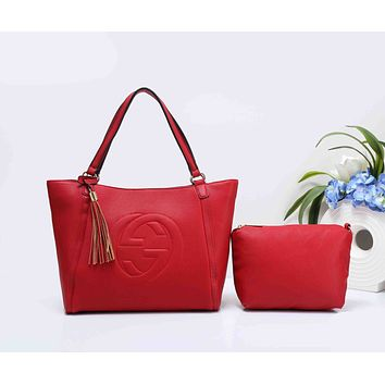 Gucci Fashionable Personality Pure Color Tassel Leather Shoulder Bag Tote Handbag Set Two-Piece Red I-XS-PJ-BB