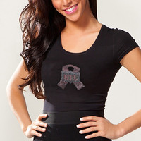 NFL Shield Ladies Breast Cancer Awareness Touchback T-Shirt - Black