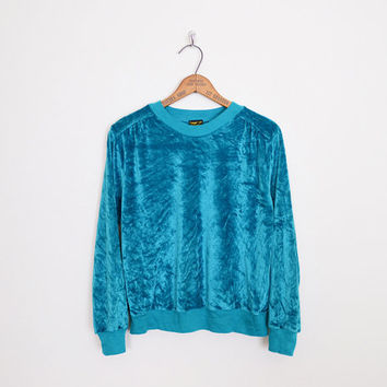 turquoise blue velour top, 80s velour top, velour sweater, velour jumper, velvet top, velvet sweater, velvet jumper, crushed velvet, m l