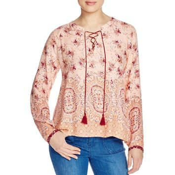 Sanctuary Womens Sunshine Girl Floral Print Lace-Up Tunic Top