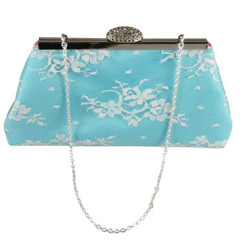 Aqua Blue, White Lace and Calypso Coral Bridal Clutch