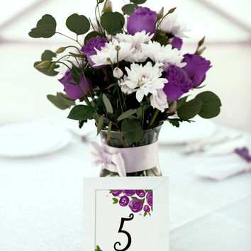 "Watercolor Wedding Table Number - Purple Wedding Reception Table Number Cards ""Lovely Roses"" Bridal Shower Table Number - Watercolor Roses"