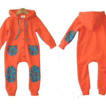 Baby jumpsuit, kids overall with hood, baby hooded overall, unisex clothes, newborn overall,  kids overall