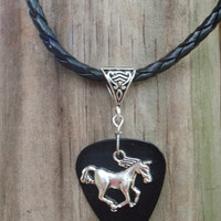 Horse Braided Necklace - Western Guitar Pick Jewelry, 12 Custom Colors Custom Size, Rodeo Equine Cowgirl,