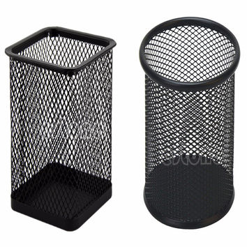 Black Metal Mesh Style Pen Pencil Holder Office Desk Organizer Container