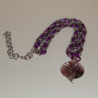 Violet Glass Heart Pendant Chainmaille Choker Necklace