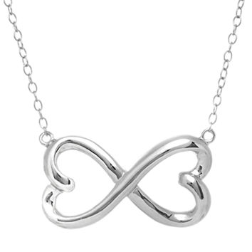 Double Heart Infinity Sign Necklace In Rhodium Plated Sterling Silver - 18 Inches