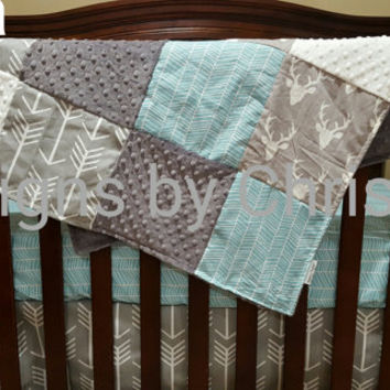 Baby Crib Bedding- Gray Buck, Gray Arrow, and Herringbone Crib Baby Bedding Ensemble - Woodland, Deer, Boy, Girl