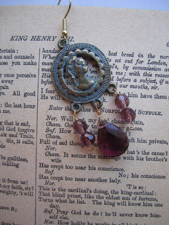 Patinated Lady Cameo Earrings with Purple Glass Pendant