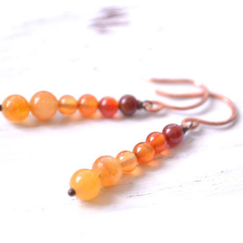 Orange Ombre Earrings // Hand Forged Copper and Orange Carnelian Earrings // Wire Wrapped Bohemian Tribal Earrings