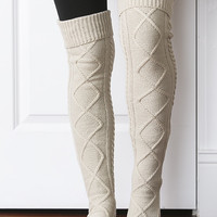 Diamond-Knit Boot Socks (oatmeal)