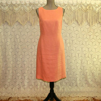 Peach Linen Dress Sleeveless Summer Dress Midi Sheath Medium Womens Dresses Casual Day Dress Talbots 90s Vintage Clothing Womens Clothing