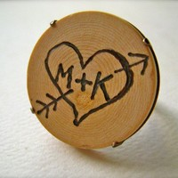 custom initial wood heart and arrow ring personalize by FoamyWader