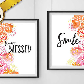 Smile & We are Blessed Print Digital Download Combo (2 VERSIONS INCLUDED!), christian art, floral design, calligraphy