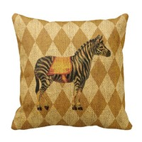 Vintage Circus Zebra on Rustic Gold Diamonds Throw Pillow