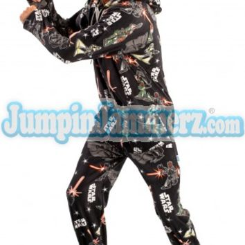 Star Wars Dark Side Hooded Footed Pajamas Footie PJs One Piece Adult Pajamas - JumpinJammerz.com