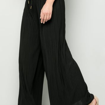BLACK PLEATED PANTS SOLID WIDE LEG