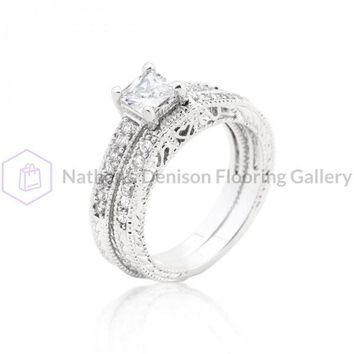 Princess Cut Filigree Bridal Ring Set (size: 08) R08298R-C01-08